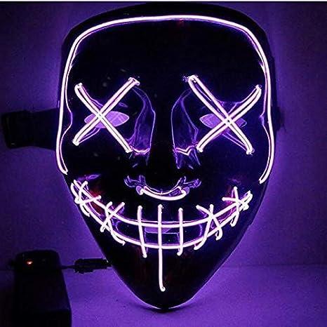 Kaliwa LED Máscaras Halloween, Halloween Mascaras, Craneo Esqueleto Mascaras, para Navidad /Halloween /Cosplay /Grimace Festival /Fiesta Show /Mascarada, Alimentado por batería (no Incluido) (púrpura)
