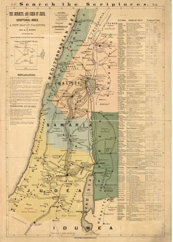 (1881 Map The journeys, and deeds of Jesus, and scriptoral index on a new map of Palestine 20
