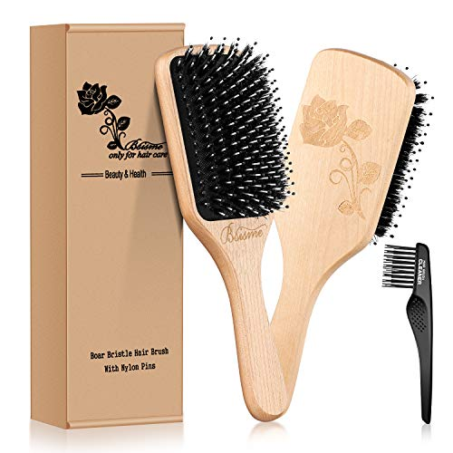 Boar Bristle Hair Brush with Nylon Detangle Pins,Wooden Paddle Hair brush for Women Men Smoothing and Detangling Thick Curly Fine Dry Hair,Hair Brush Cleaner Included