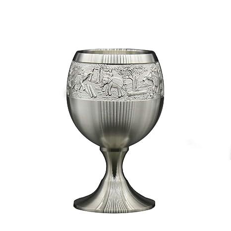 Oriental peltre – Liquor Goblet de estaño puro 97% sin plomo G6L tallado a mano