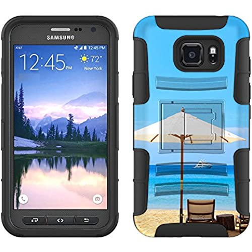 Samsung Galaxy S7 Active Armor Hybrid Case Beach Umbrella View 2 Piece Case with Holster for Samsung Galaxy S7 Active Sales