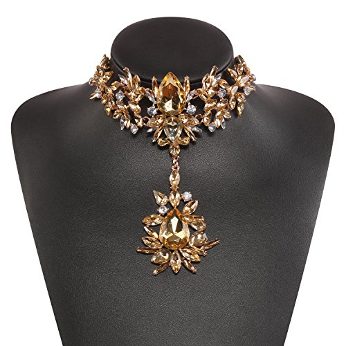 Tawny Fashion Statement Necklace Body Chain Jewelry in Crystal Beads with Holylove Gift Box-HLN0006 Tawny (Fashion Statement Necklace)