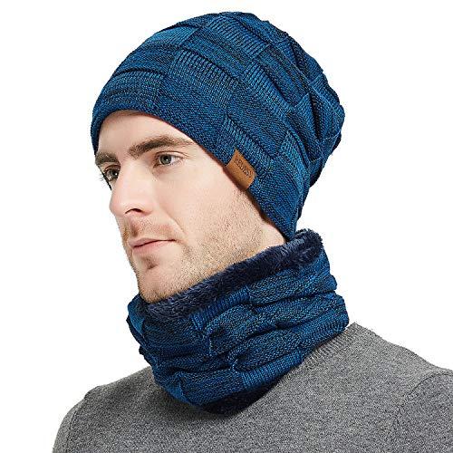 REDESS Beanie Hat Scarf Set Men Women,Winter Warm Hats Knit Slouchy Thick Skull Cap Neck Warmer - Long Beanie Cap