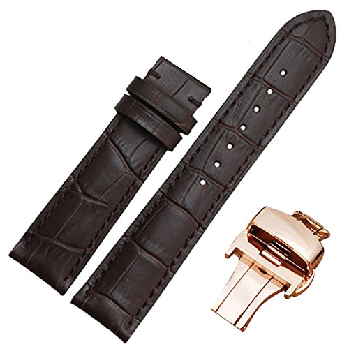 19mm 20mm Luxury Italian Brown Leather Watch Band Strap Deployment Clasp (19mm, Rose gold plate) by TIME4BEST