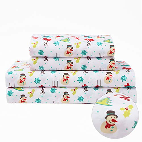Full Holiday Winter Microfiber Bedding Sheet Set Christmas Tree Truck Red White, and Blue (Cotton Christmas Sheets)
