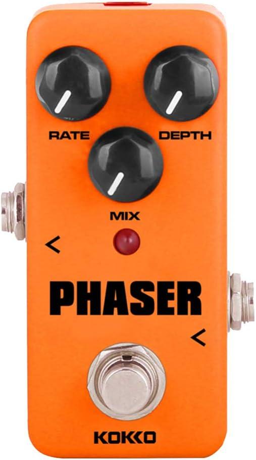 Healifty efectos de guitarra eléctrica analógico phaser rate mezcla control de profundidad mini efecto pedal guitarra partes para instrumento musical bajo (naranja)