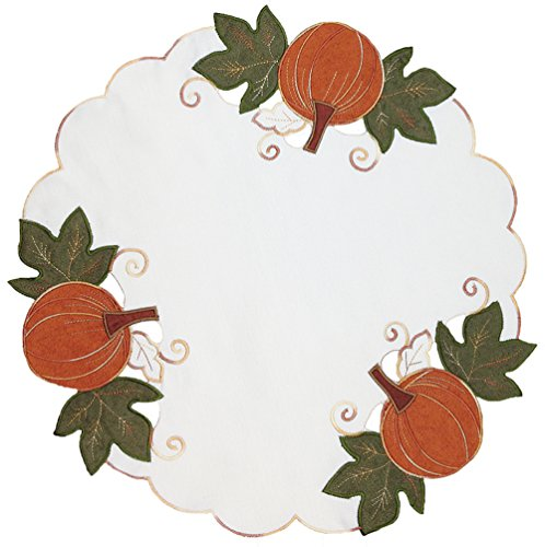 Xia Home Fashions Pumpkin Patch Embroidered Cutwork Linens Collection Fall  Doilies, 16-Inch Round, Set of - Light 16 Doily Inch