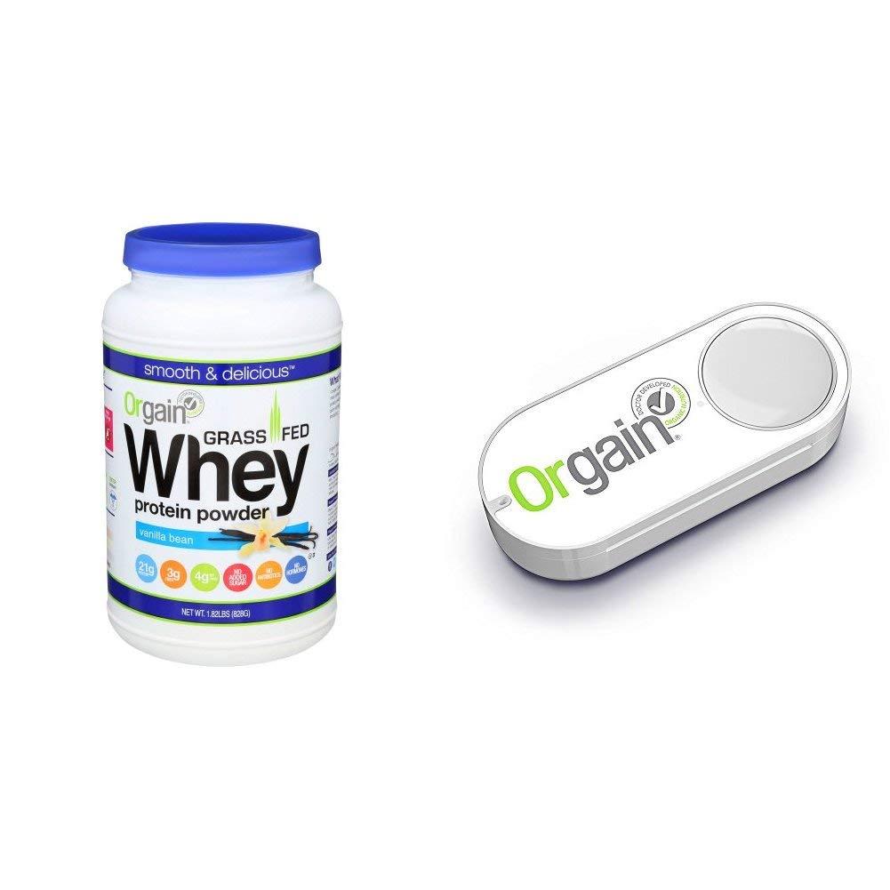 Orgain Grass Fed Whey Protein Powder, Vanilla Bean, Non-GMO, Gluten Free, 1.82 Pound, 1 Count + Orgain Dash Button