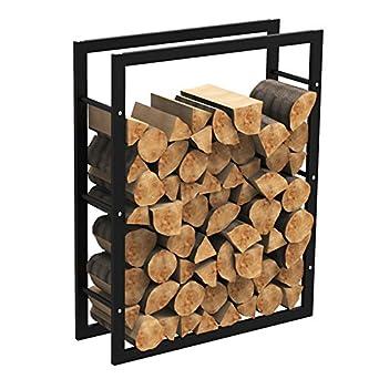 MCTECH® - Estante metálico para leña de chimenea, soporte para leña, alojamiento para guardar leña, 100*80*25cm: Amazon.es: Amazon.es