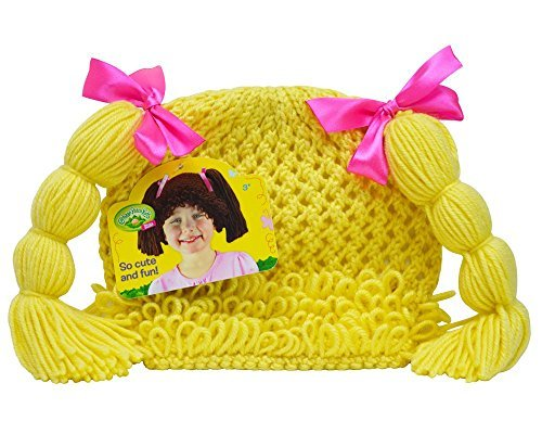 [Cabbage Patch Kids Childs Dress-Up Knit Beanie Wig with Blonde Pigtails] (Cabbage Head Costume)