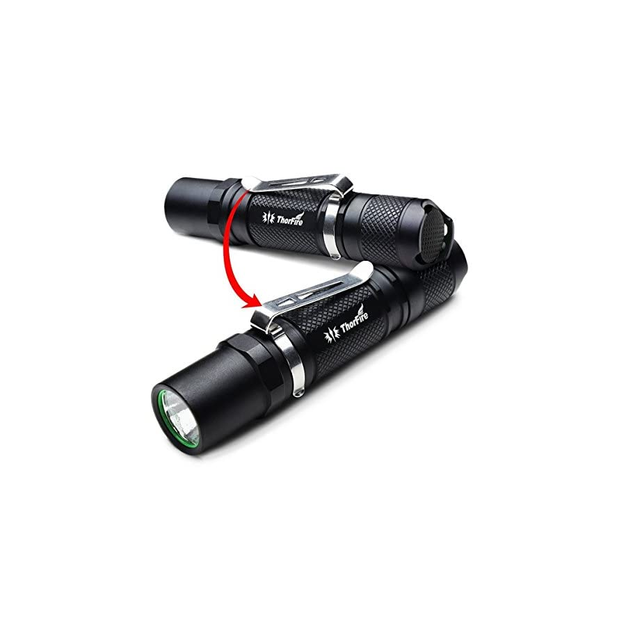ThorFire Mini Flashlight, 500 Lumen Professional EDC Tactical Light with Strobe, Compact TG06S Powered by AA or 14500 Battery (Not Included)