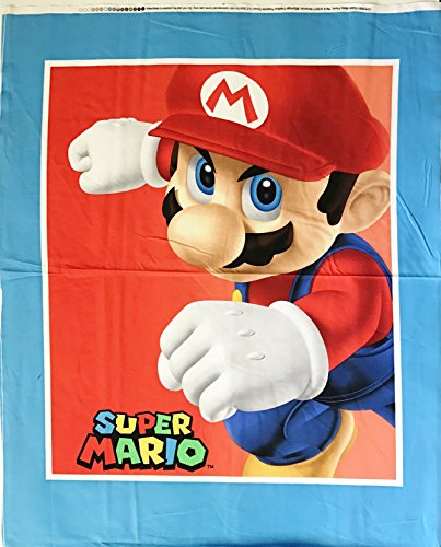 Nintendo Super Mario Cotton Fabric Panel - Officially Licensed (Great for Quilting, Sewing, Craft Projects, Quilt or Throw Pillows) 36