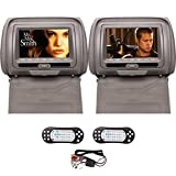 Ouku 2PCS Pair of Headrest 7' LCD Car Pillow Monitor DVD player Dual Twin Screens USB SD IR FM Transmitter 32 Bit Games, Zipper Cover -- Gray Grey Color