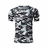 Body Safe Guard Padded Compression Sports Short Sleeve Protective Camo T-Shirt Shoulder Rib Chest Protector Suit for Football Basketball Paintball Rugby Parkour Extreme Exercise (Padded Shirts M)