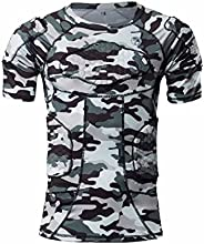 Body Safe Guard Padded Compression Sports Short Sleeve Protective Camo T-Shirt Shoulder Rib Chest Protector Su