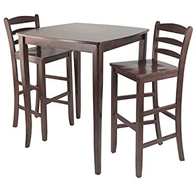 Winsome Inglewood High/Pub Dining Table with Ladder Back Stool, 3-Piece - Inglewood curved top high table with cariole legs stands at 33.86-inchw by 33.86-inchd by 38.90-inchh Comes with #94249 - 2 ladder back stools with each overall size of 16.58-inch by 19.35-inch by 42.46-inchh. seat height is 30-inchh Assembly required - kitchen-dining-room-furniture, kitchen-dining-room, kitchen-dining-room-tables - 51X637OKgmL. SS400  -