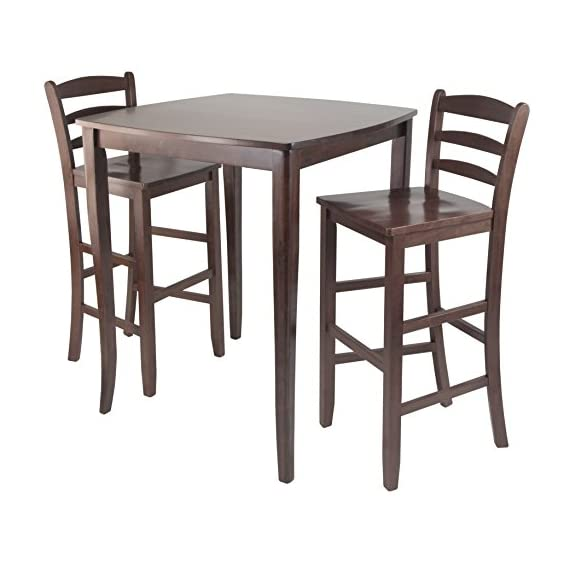 Winsome Inglewood High/Pub Dining Table with Ladder Back Stool, 3-Piece - Inglewood curved top high table with cariole legs stands at 33.86-inchw by 33.86-inchd by 38.90-inchh Comes with #94249 - 2 ladder back stools with each overall size of 16.58-inch by 19.35-inch by 42.46-inchh. seat height is 30-inchh Assembly required - kitchen-dining-room-furniture, kitchen-dining-room, kitchen-dining-room-tables - 51X637OKgmL. SS570  -