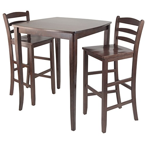 Hardwood Pub Table - Winsome Inglewood High/Pub Dining Table with Ladder Back Stool, 3-Piece