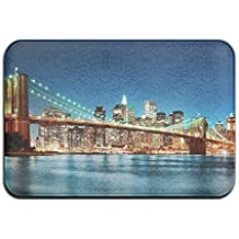 Brooklyn Bridge New York River View Theme Anti-slip Door Mat Home Decor Indoor Outdoor Entrance Doormat Rubber Backing 23.6 X 15.7 Inches