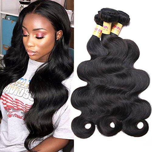 Connie Brazilian Hair Bundles Body Wave 100% Human Hair 3 Bundles 22 24 26 inch Weave Hair Human Bundles Natural Color 1B# ()