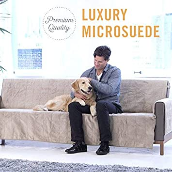 GPD Furniture Fresh Luxury Textured Microsuede Pebbles Furniture Protector and Slipcover with Anti-slip Non-slip Backing XL Sofa, Chocolate -Water Repellant
