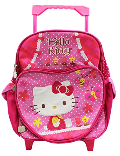 Hello Kitty Love of Nature Pink Polka Dot Small Size Rolling Backpack (12in)