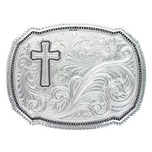 Montana Silversmiths Men's Silver Wheat Cross Rope Belt Buckle, 3.9