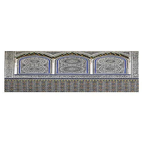Leigh R. Avans Background Fish Tank Decorations Nostalgic Moroccan Architecture with Ste Carving and Motifs Majestic Ottoman PVC Paper Cling Decals Sticker 35.4