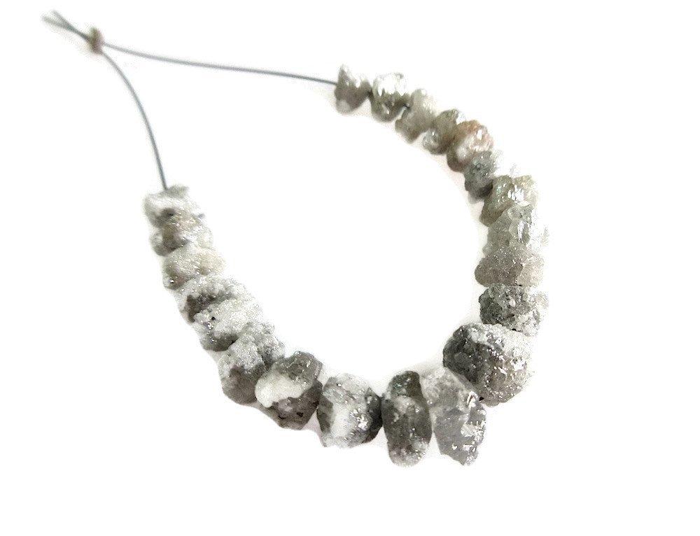 21 Pieces 4-7mm White/Grey Raw Rough Diamond Beads, Diamond Tyres, Natural Diamond Rondelles, SKU-DdGw145