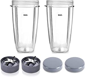 Replacement Extractor Blade and Cups Set, Replacement Parts 2 Extractor Blade and 2 32oz Cup, with 2 Flat Lids, Blender Replacement Parts Compatible with Nutribullet 600W 900W Blender Juicer (6 Pack)
