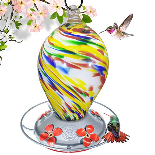 Grateful Gnome - Hummingbird Feeder - Hand Blown Glass - Bubblegum Swirl - 28 Fluid Ounces