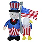 6 ft. Airblown Inflatable Uncle Sam & American Eagle - Yard Decoration
