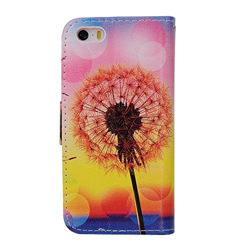 MOONCASE iPhone 5 Case Leder Tasche Flip Case Schutzhülle Etui Kartenfächer Hülle Schale Cover für iPhone 5 5S -ZD07