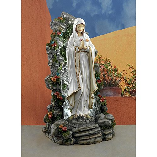 Design Toscano Blessed Virgin Mary Illuminated Garden Grotto Sculpture, Full Color by Design Toscano