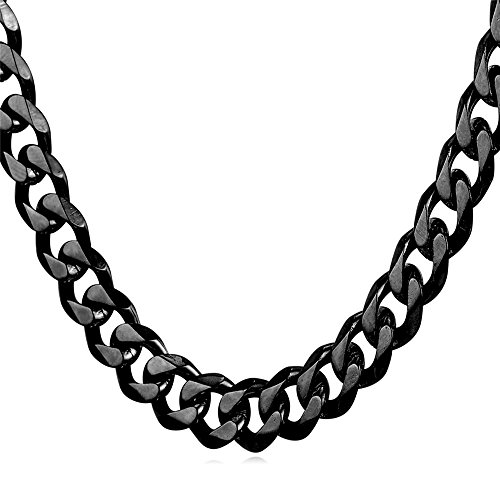 U7 9mm Men's Steel Base Black Gun Plated Cuban Chain Necklace 22-Inch