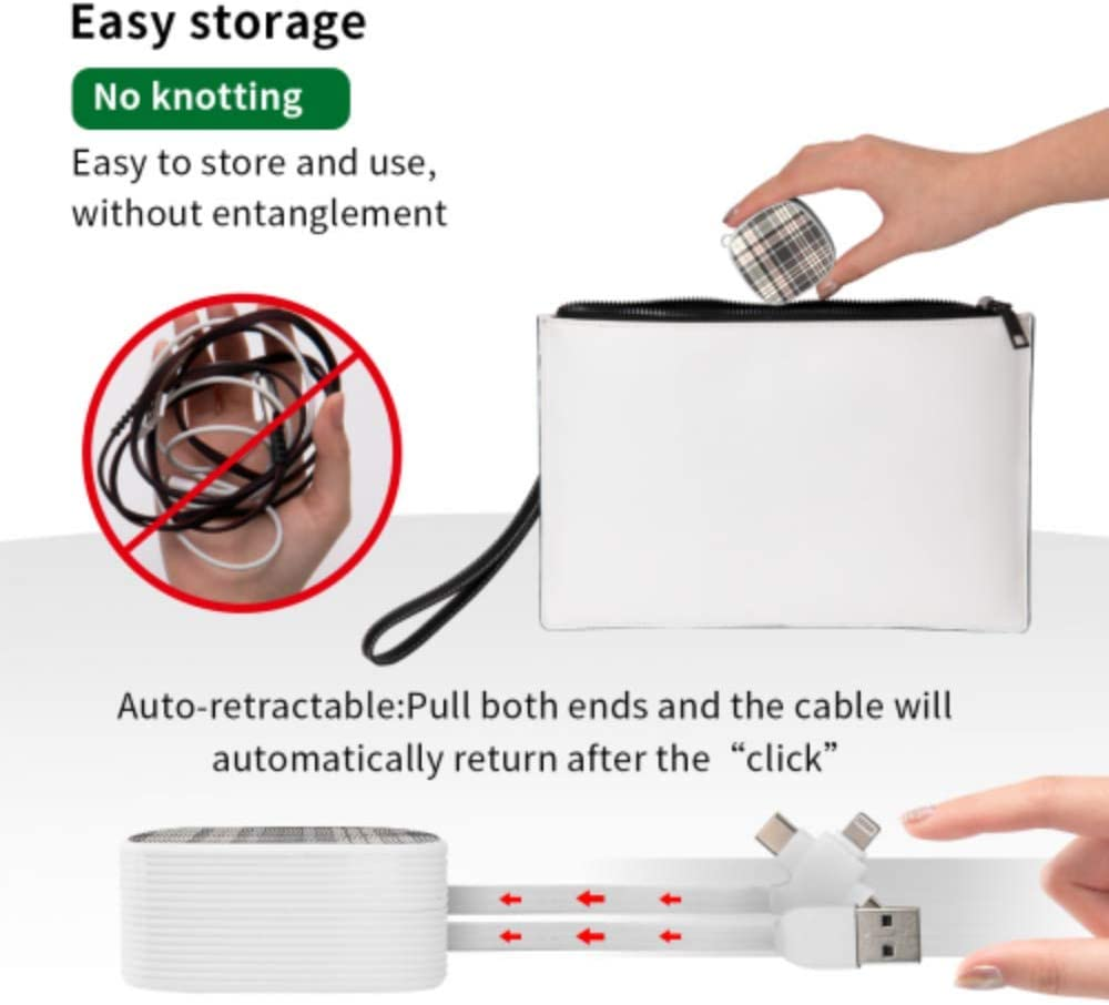 Fast Charge Cable Multi Beautiful Brown Lattices Multi 3 in 1 Retractable Quick Charge Multi Cable with Micro USB//Type C Compatible with Cell Phones Tablets and More