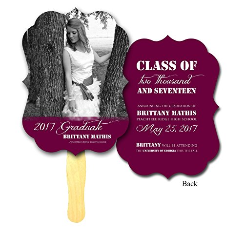 Photo Antique Shaped Custom Printed Graduation 'Thank You' Program Hand Fans - Set of 20 - Double sided Full Color Cardstock on Wooden Wavy Sticks -