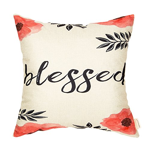 Fahrendom Blessed Watercolor Pink Coral Floral Olive Branch Inspirational Quote Motivational Sign Cotton Linen Home Decorative Throw Pillow Case Cushion Cover with Words for Sofa Couch 18 x 18 Inch