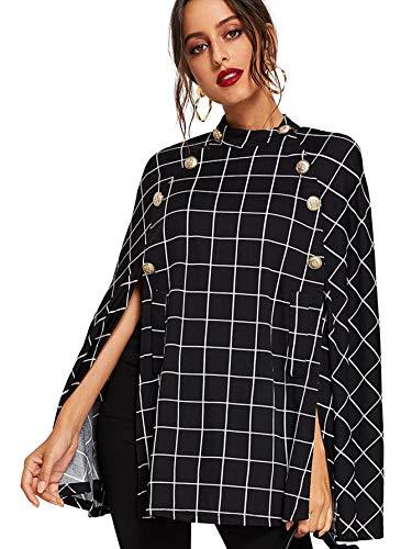 - MAKEMECHIC Women's Double Button Cloak Sleeve Elegant Cape Mock Poncho Classy Plaid Coat S