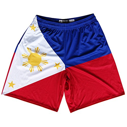 Philippines Flag Lacrosse Shorts, Red, White, Yellow, Black, XX-Large -