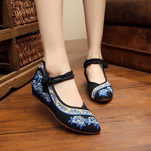 DESY Gestickte Schuhe, Sehnensohle, ethnischer Stil, weibliche Tuchschuhe, Mode, bequem, lässig innerhalb der Zunahme Black