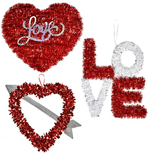 Valentines Wreath Decorations 3 Pack 12 inch Red Decor Heart Garlands Artificial Party Decorations for Kitchen Lawn & Patio Holiday Outdoor indoor Decor, Heart Shaped wedding Wreath by Gift Boutique