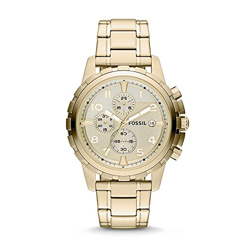 (Fossil Men's Dean Quartz Stainless Steel Chronograph Watch, Color: Gold (Model: FS4867))