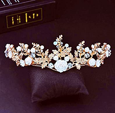 Amazon Com Generic Crown Tiara Tiara Beaded Headdress Korean