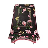 YWJ household short plush lace tablecloth exterior waterproof table cover rectangle (color : BLACK, Size : 140 * 100CM)