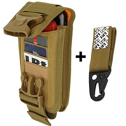 Khaki Combo - LefRight Universal Compact Nylon Waist Bag 2 Pouch Fasten Lock Card Holder Organizer Combo Gear Keeper (Khaki)