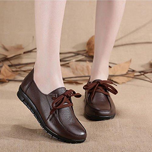 Dames Casual Damesschoenen Flats Loafers Comfort Lace Up Klassieke Jurk Walking Penny Loafer Schoenen Bruin