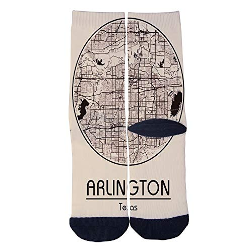 Custom Men's Women's Map Arlington Texas United States Socks Novelty Cartoon Creative Casual Crew Socks Black (Map Cartoon Texas)