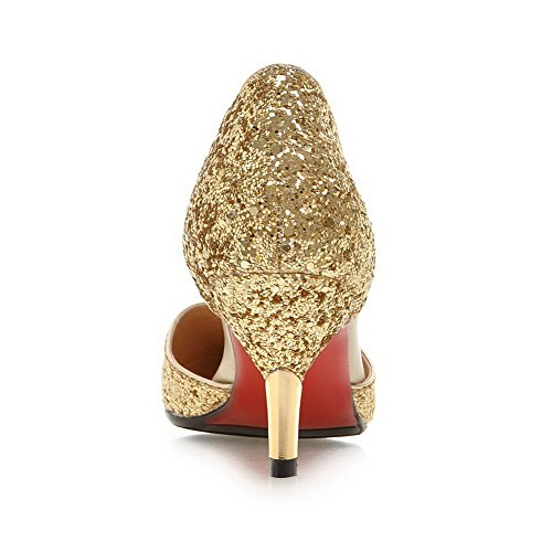 Low Gold 4 Pointed Heel Sandals Sequin Toe Uppers 5 Shape MMS04170 Womens Cut UK Cone 1TO9 xOzRqTwYW