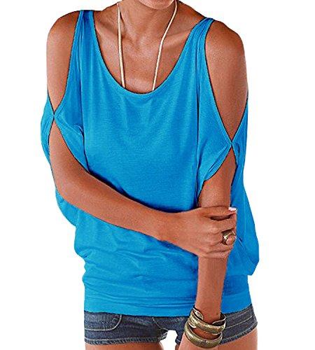 Donna Manica Estive Scollo Tinta Blu Camicetta shopping Bluse Scoperte Barca Shirt Camicie Corta E Spalle Casual Top Impero Unita A Stile 365 68qv40